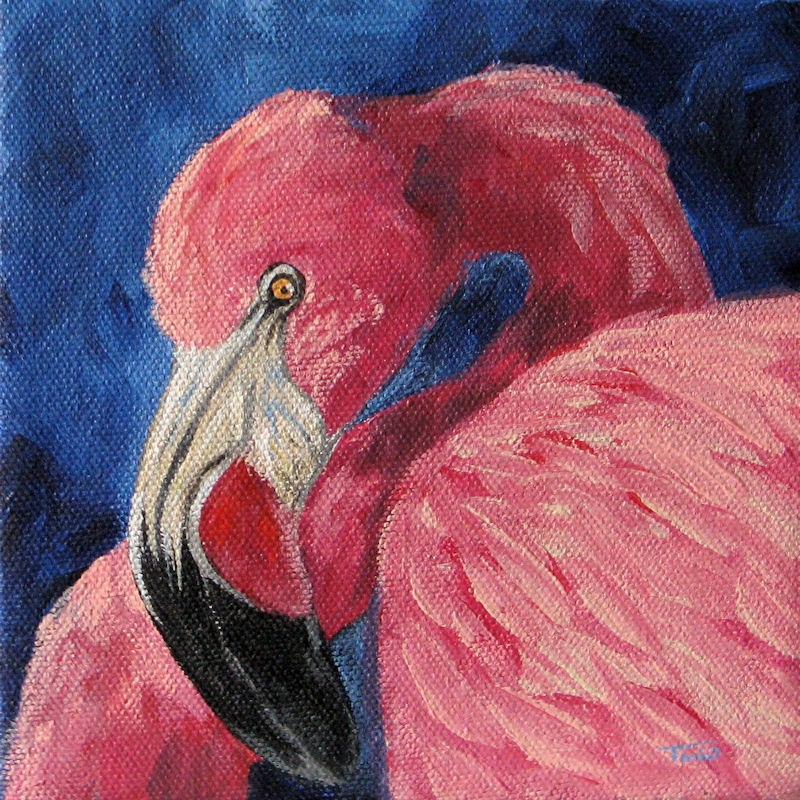 """Pink Flamingo IV"" original fine art by Torrie Smiley"