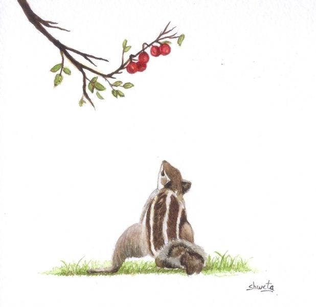 """Squirrel and the Red Berries Painting"" original fine art by Shweta Mahajan"