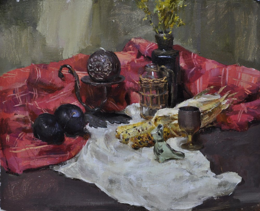 """still life with corn"" original fine art by Taisia Kuklina"