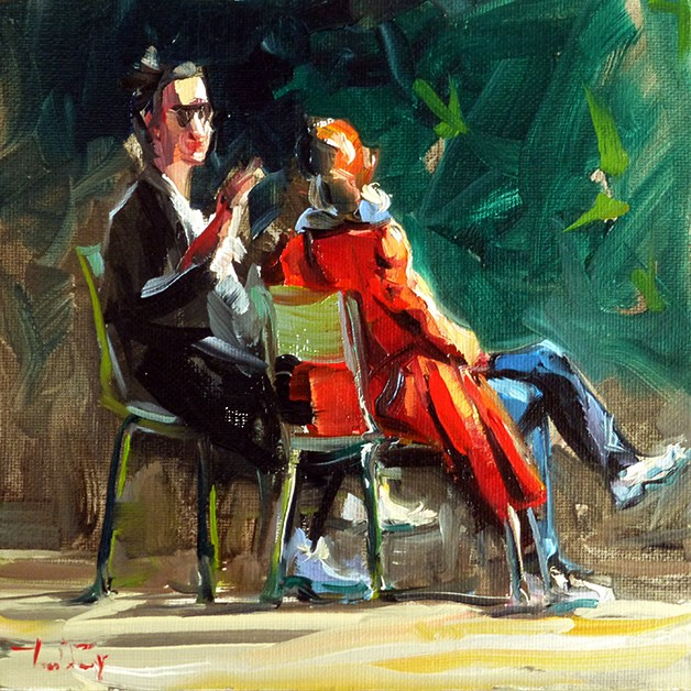 """""""gespraech im park"""" original fine art by Jurij Frey"""