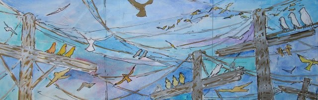 """""""Birds in Flight Triptych- this is a work in progress. Check out my blog for progress reports."""" original fine art by Mary Sheehan Winn"""