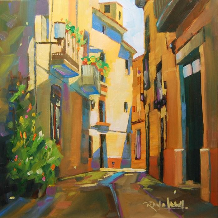 """No 518 Village Sunlight"" original fine art by Robin J Mitchell"