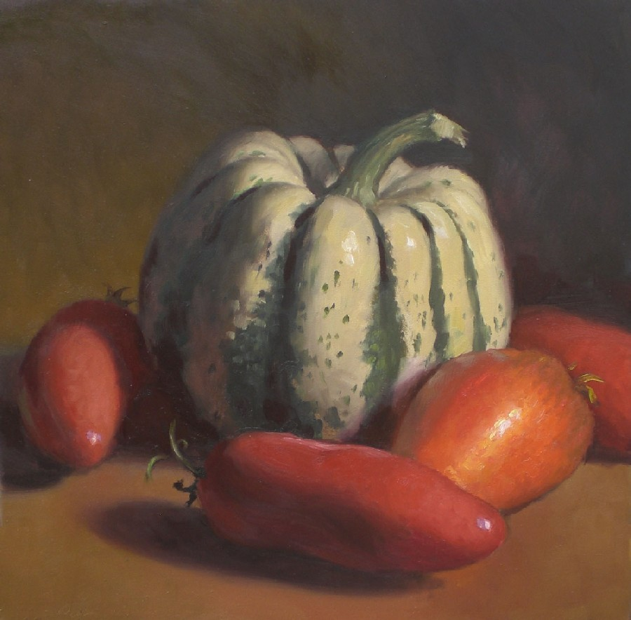 """White Acorn Squash and Tomatoes"" original fine art by Debra Becks Cooper"