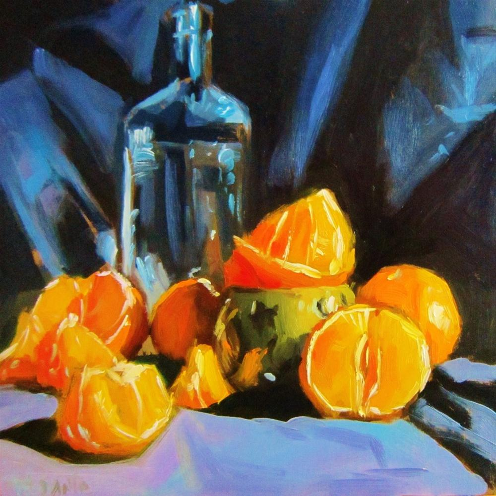 """Mandarins and bottle"" original fine art by Víctor Tristante"