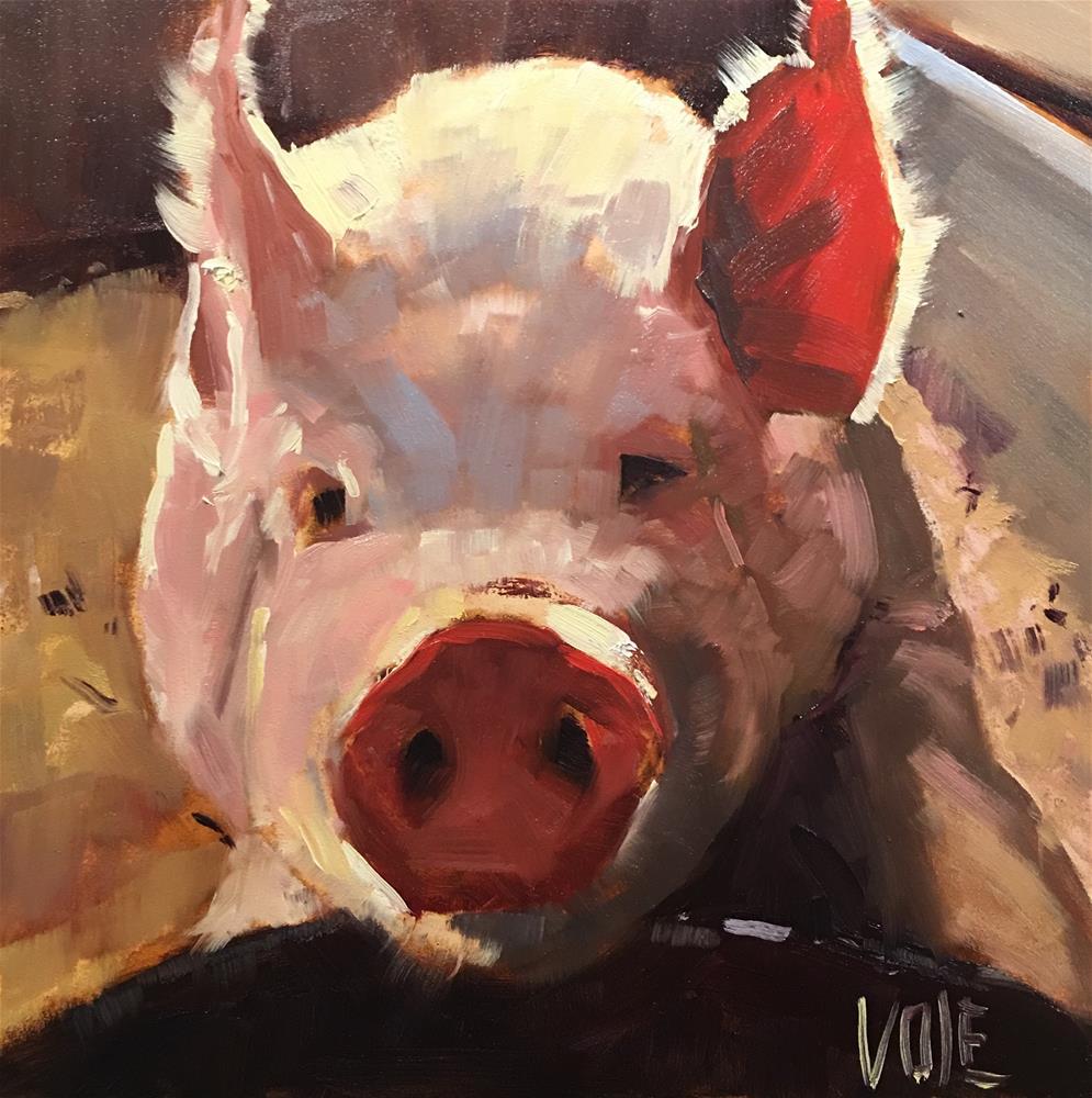 """#492 Consider the Pig"" original fine art by Patty Voje"