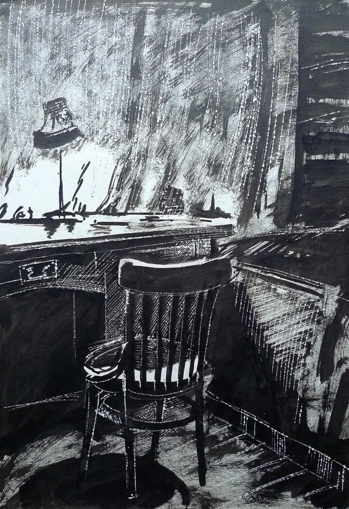 """Evening Interior"" original fine art by Elena Senina"