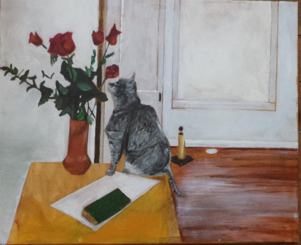 """Kitty smells the flowers Roses inspired by Folk Art and impressionism"" original fine art by tara stephanos"