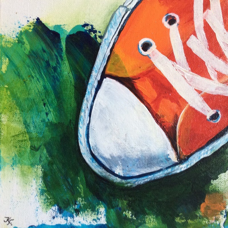 """Chucks in orange"" original fine art by Klaudia Frieda"