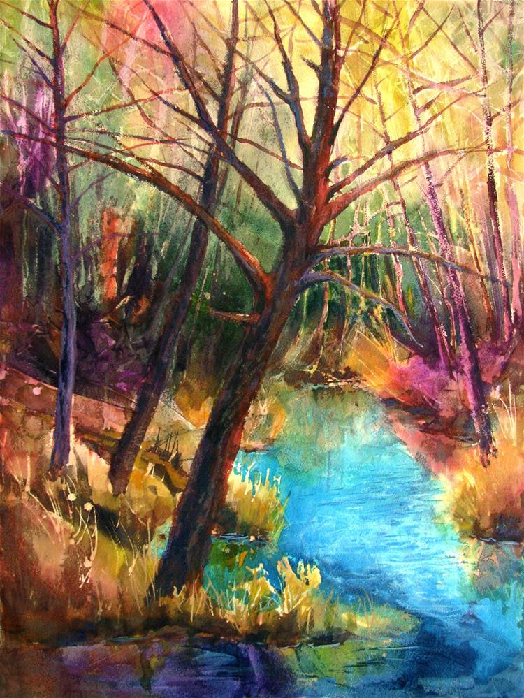 """""""Dancing Trees at the Water's Edge"""" original fine art by Melissa Gannon"""