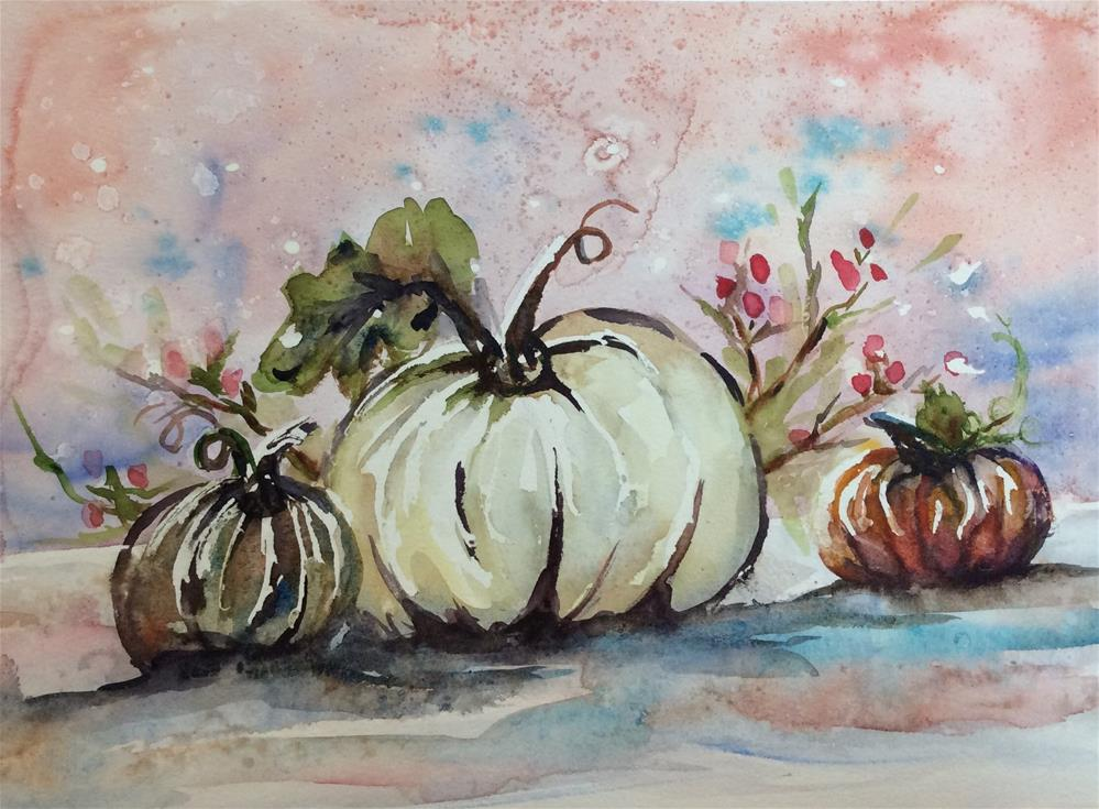 """""""White pumpkin"""" original fine art by Molly Rohrscheib Hathaway"""