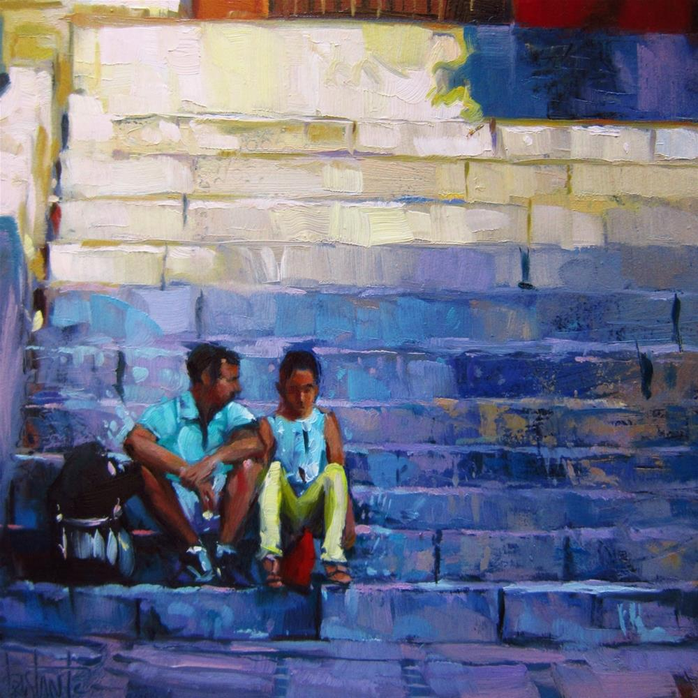 """Sitting on the stairs"" original fine art by Víctor Tristante"