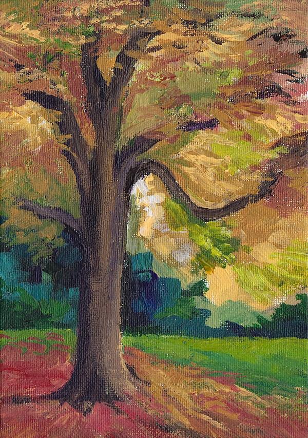 """Tree In Autumn"" original fine art by J M Needham"