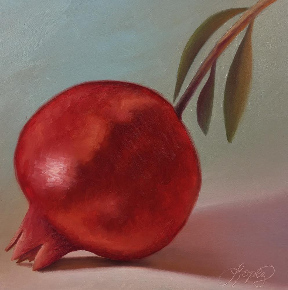 """29. Fresno State Pomegranate"" original fine art by Gema Lopez"