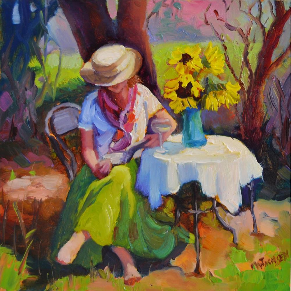 """Maid in the Shade, 6x6, oil on board, framed-$400, Randy Higbee 6x6 inch squared show, women, wome"" original fine art by Maryanne Jacobsen"