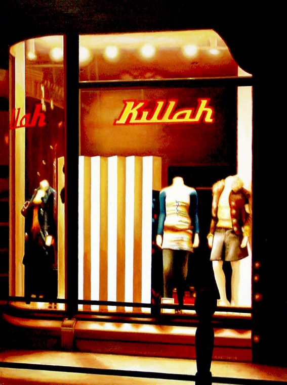 """Killah- Painting Of Shop Window At Night"" original fine art by Gerard Boersma"