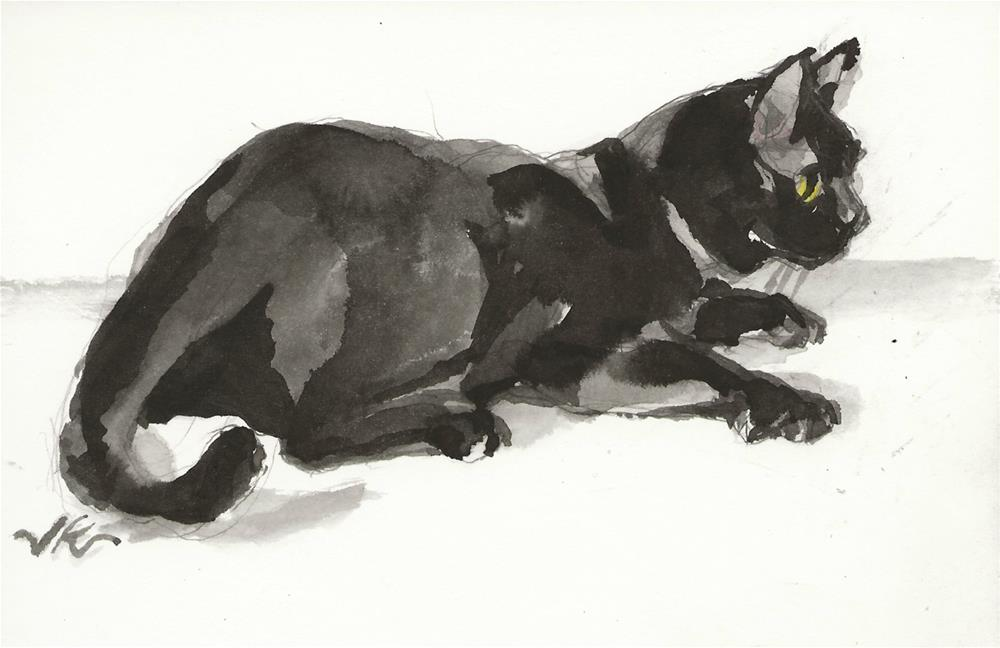"""Daily Cat 148"" original fine art by Jean Krueger"