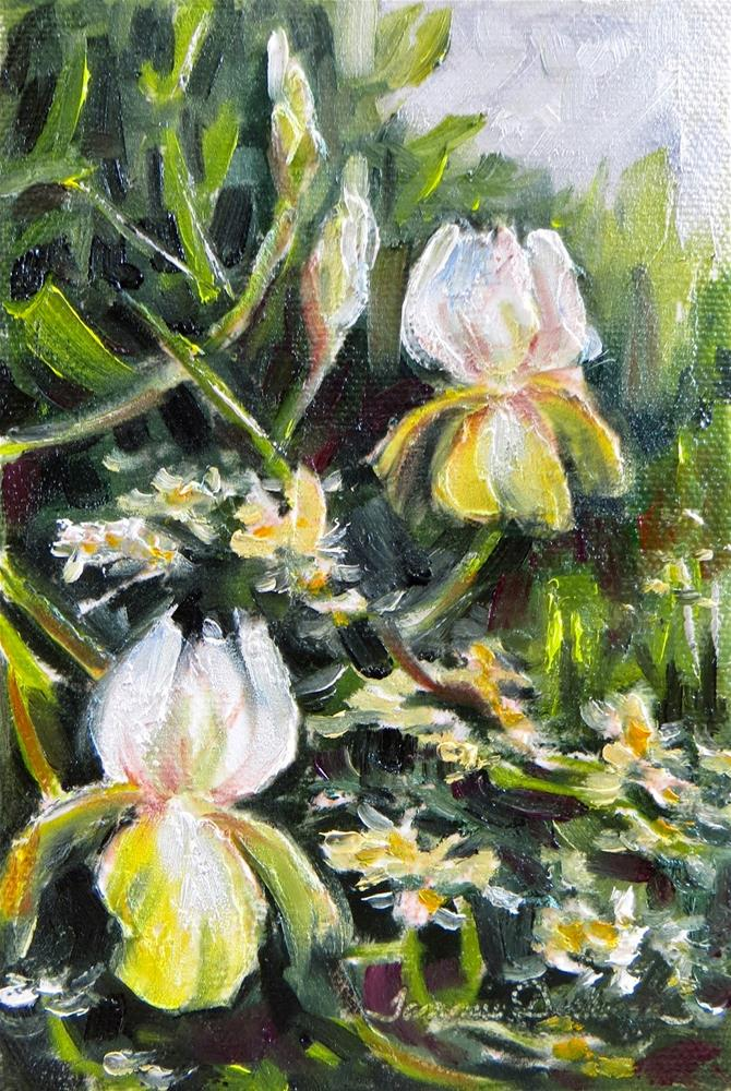 """""""Wild Roses and Iris"""" original fine art by Tammie Dickerson"""