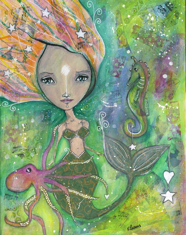 """The Littlest Mermaid"" original fine art by Kali Parsons"