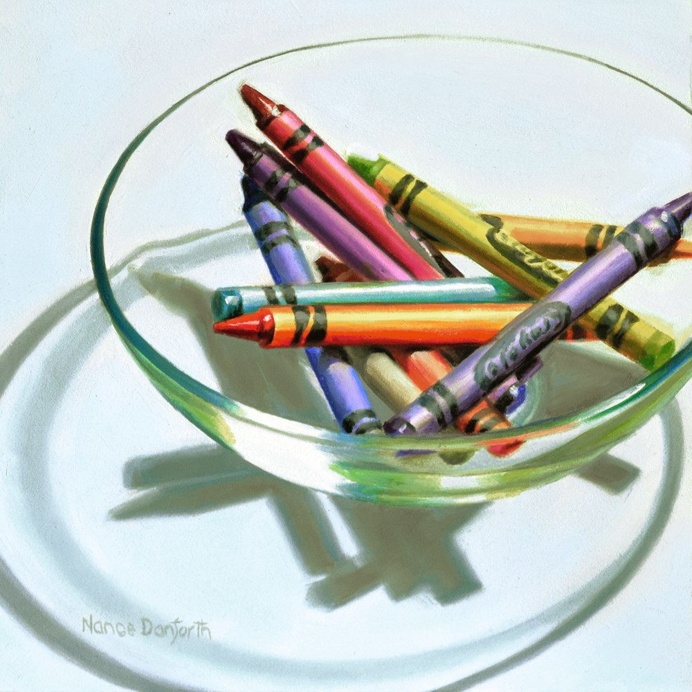 """Crayons in Glass Bowl"" original fine art by Nance Danforth"