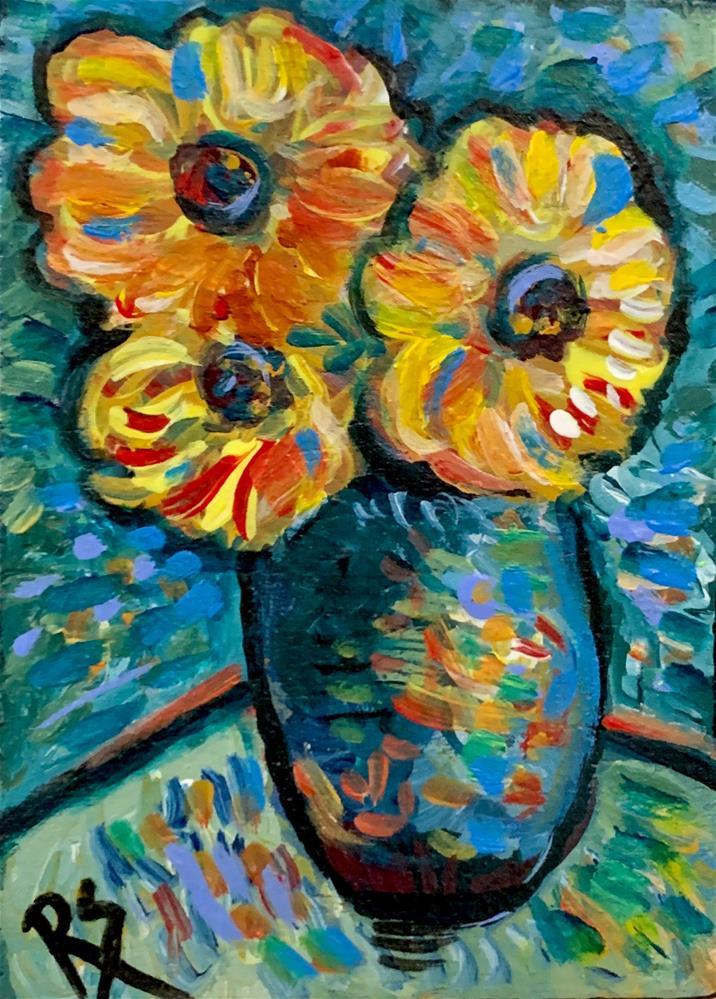 """Tiny Sunflowers"" original fine art by Roberta Schmidt ArtcyLucy"