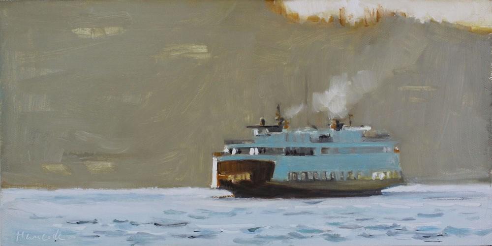 """Pale Ferry on Gold"" original fine art by Gretchen Hancock"