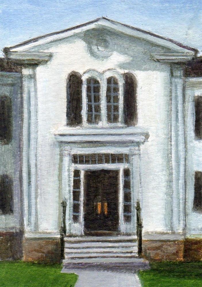 """Wenham Town Hall"" original fine art by Debbie Shirley"
