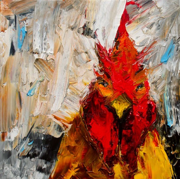 """ARTOUTWEST ROOSTER CHICKEN ART Oil painting original by Diane Whitehead"" original fine art by Diane Whitehead"