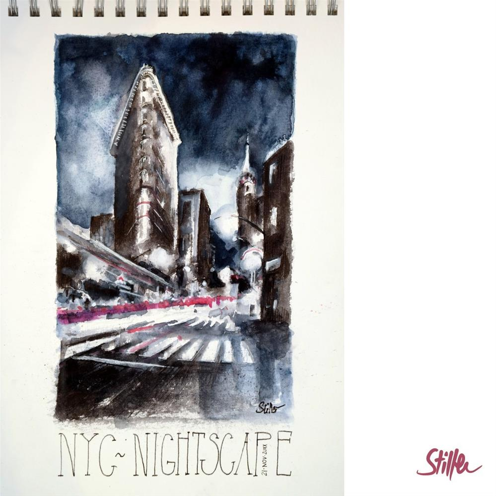 """3381 NYC Nightscape"" original fine art by Dietmar Stiller"