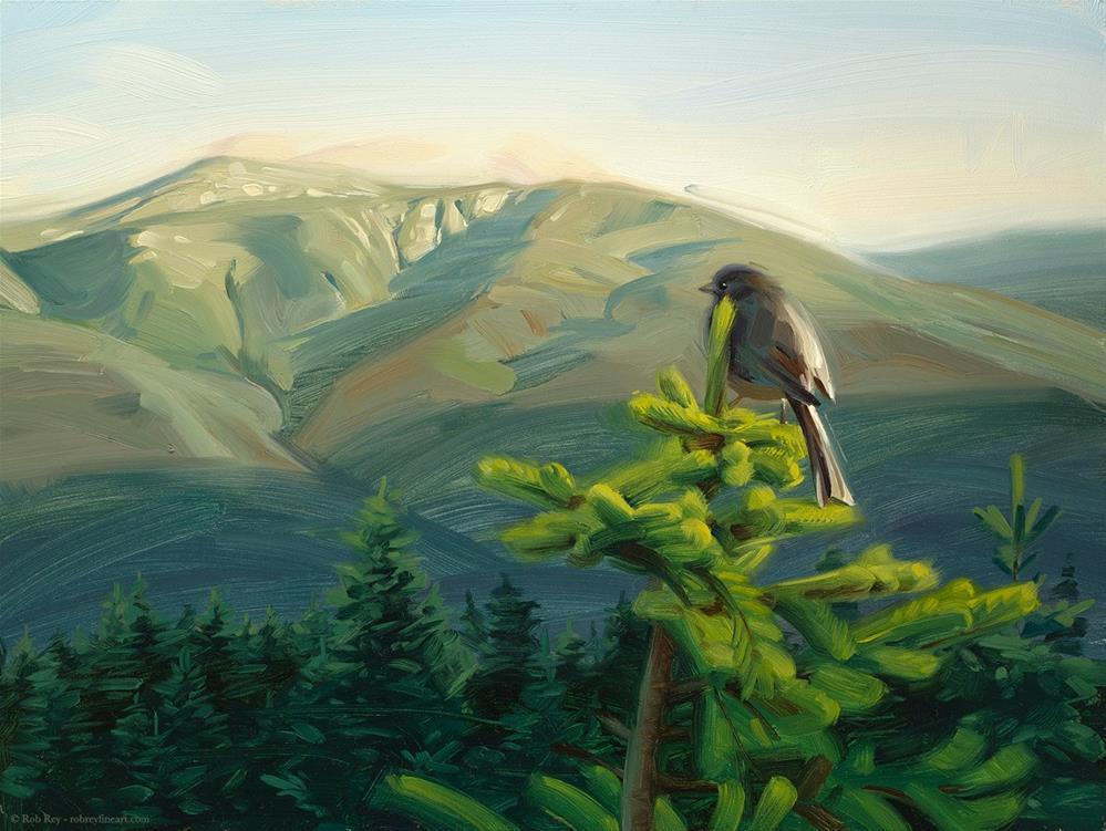 """First Light on Mt Washington"" original fine art by Rob  Rey"