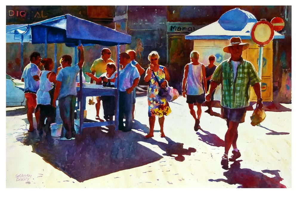 """Puerto de la Cruz fish stall"" original fine art by Graham Berry"