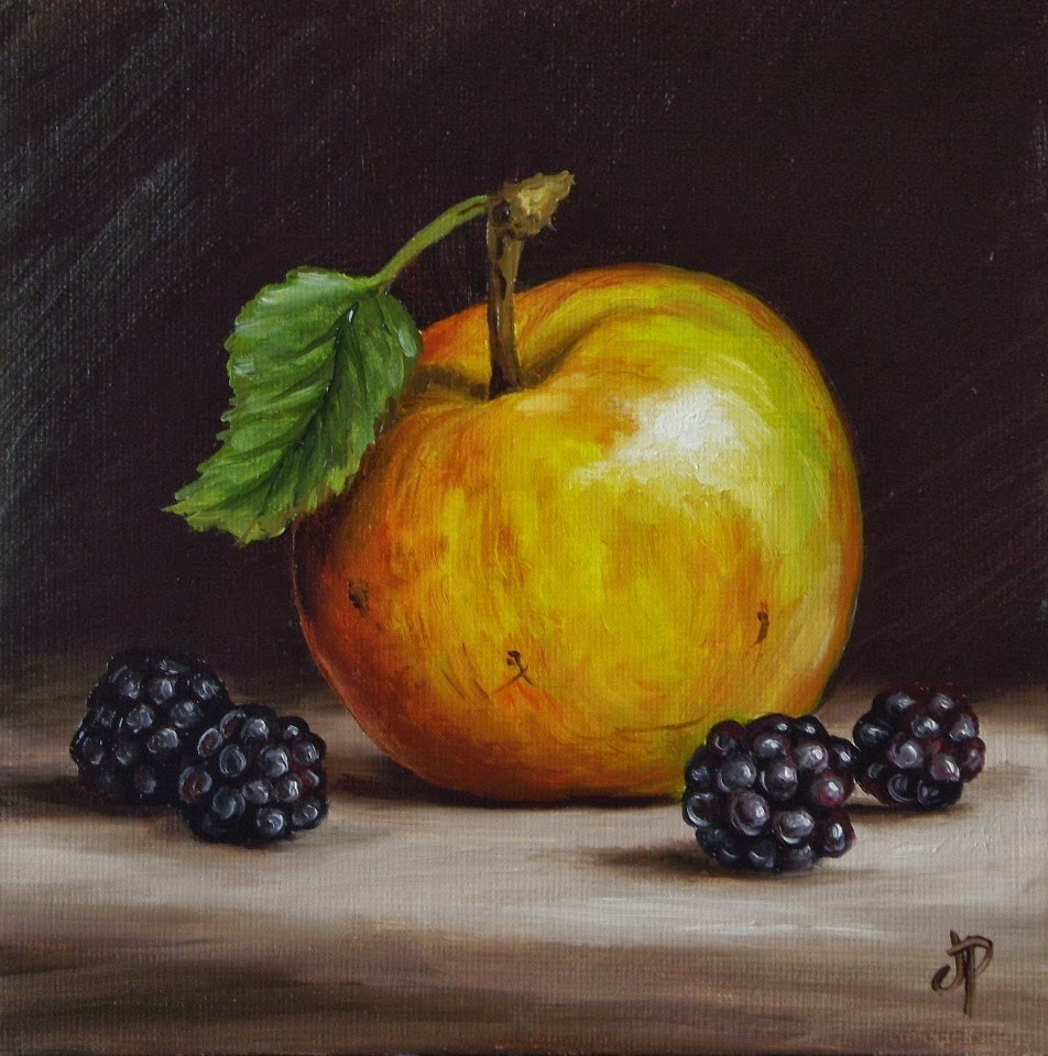 """Apple and Blackberries"" original fine art by Jane Palmer"