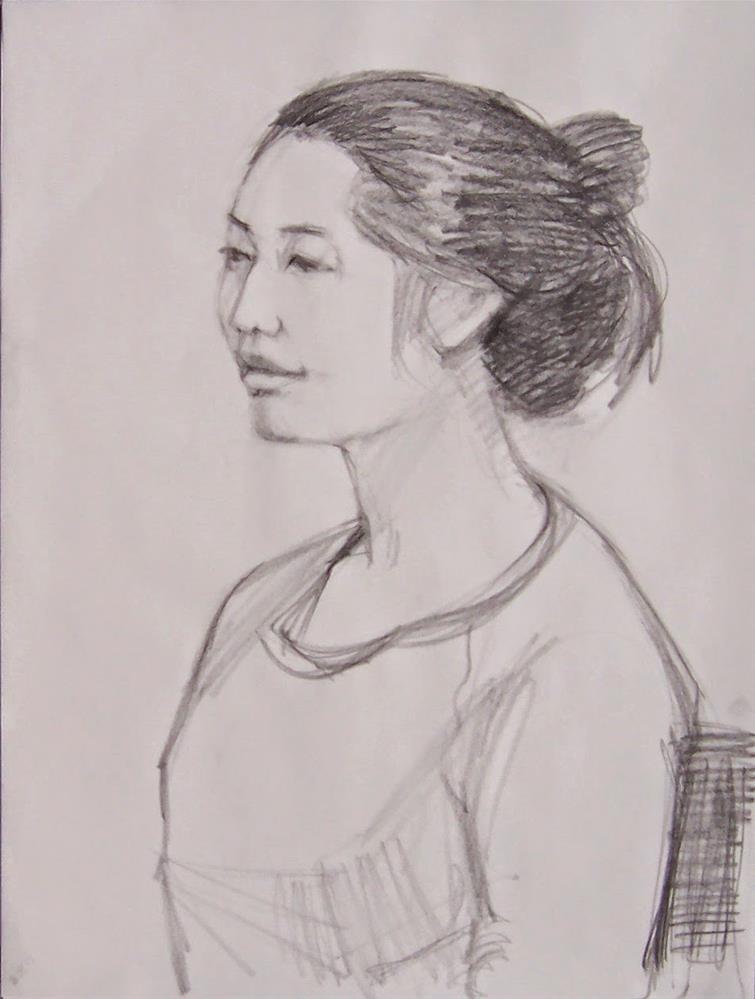 """Esther,portrait,graphite drawing on paper,24x18,price$200"" original fine art by Joy Olney"