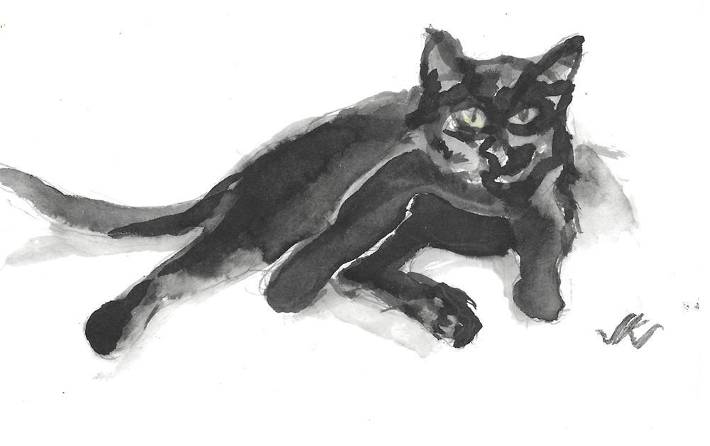 """Daily Cat 214"" original fine art by Jean Krueger"