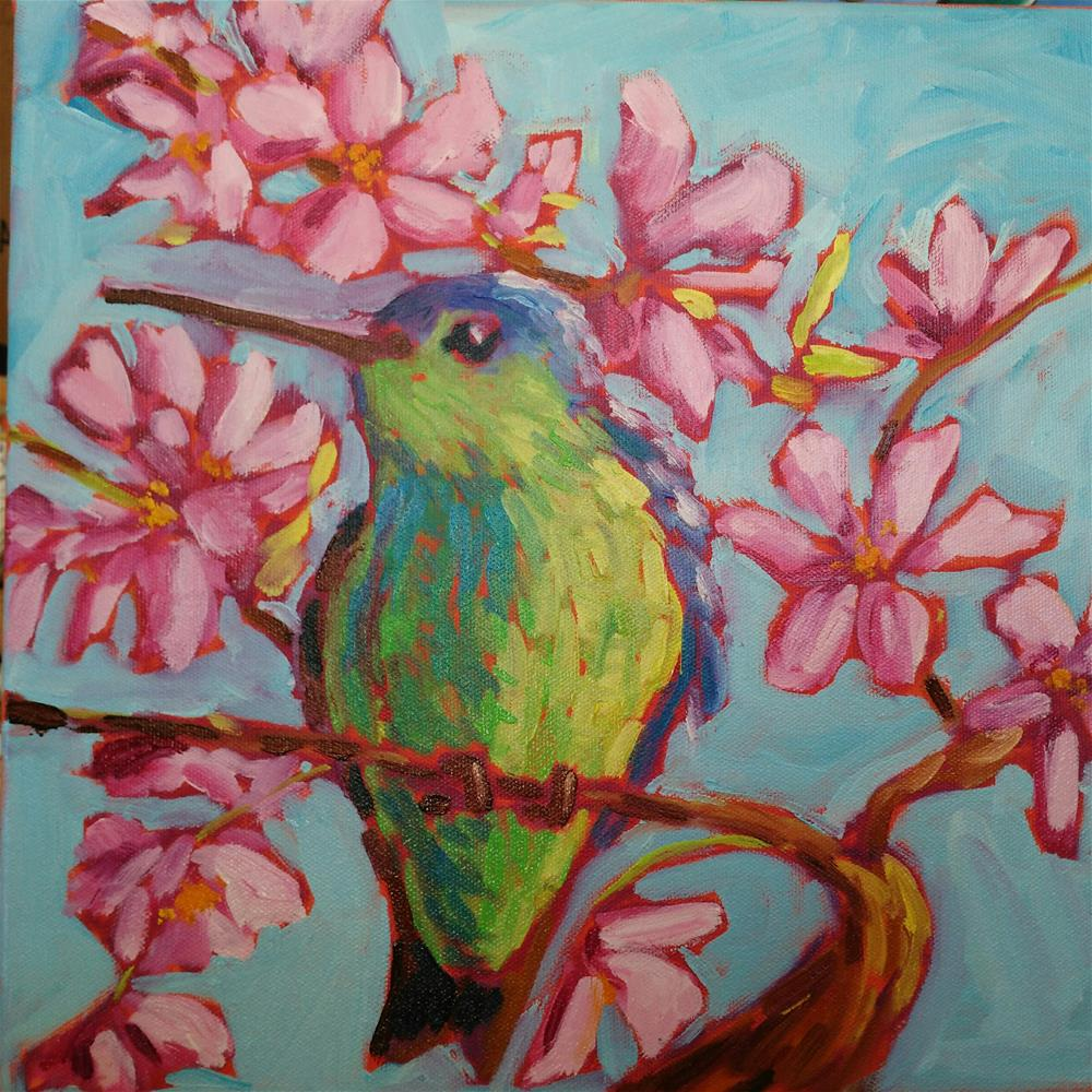 """""""Hummingbird in the blossoms"""" original fine art by Robyn Suzanne"""