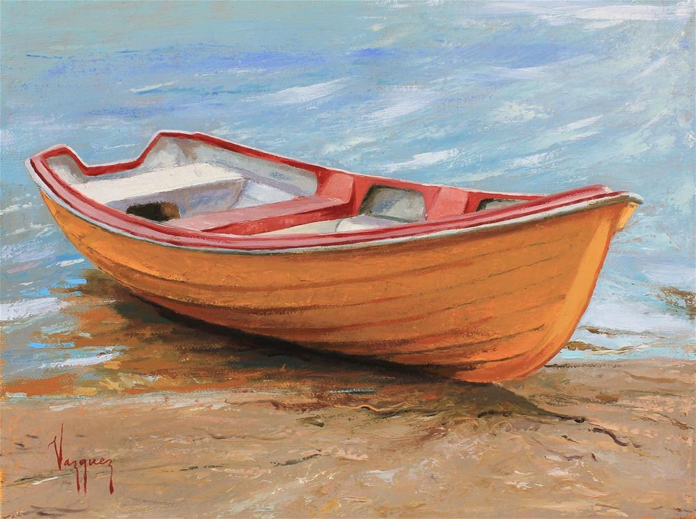 """Boat at seashore "" original fine art by Marco Vazquez"
