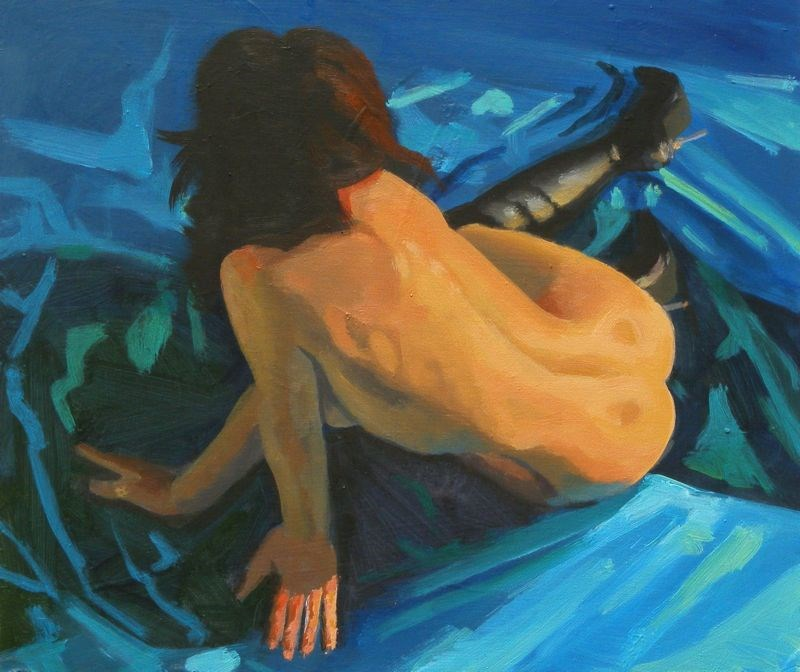 """Figure on blue"" original fine art by Peter Orrock"