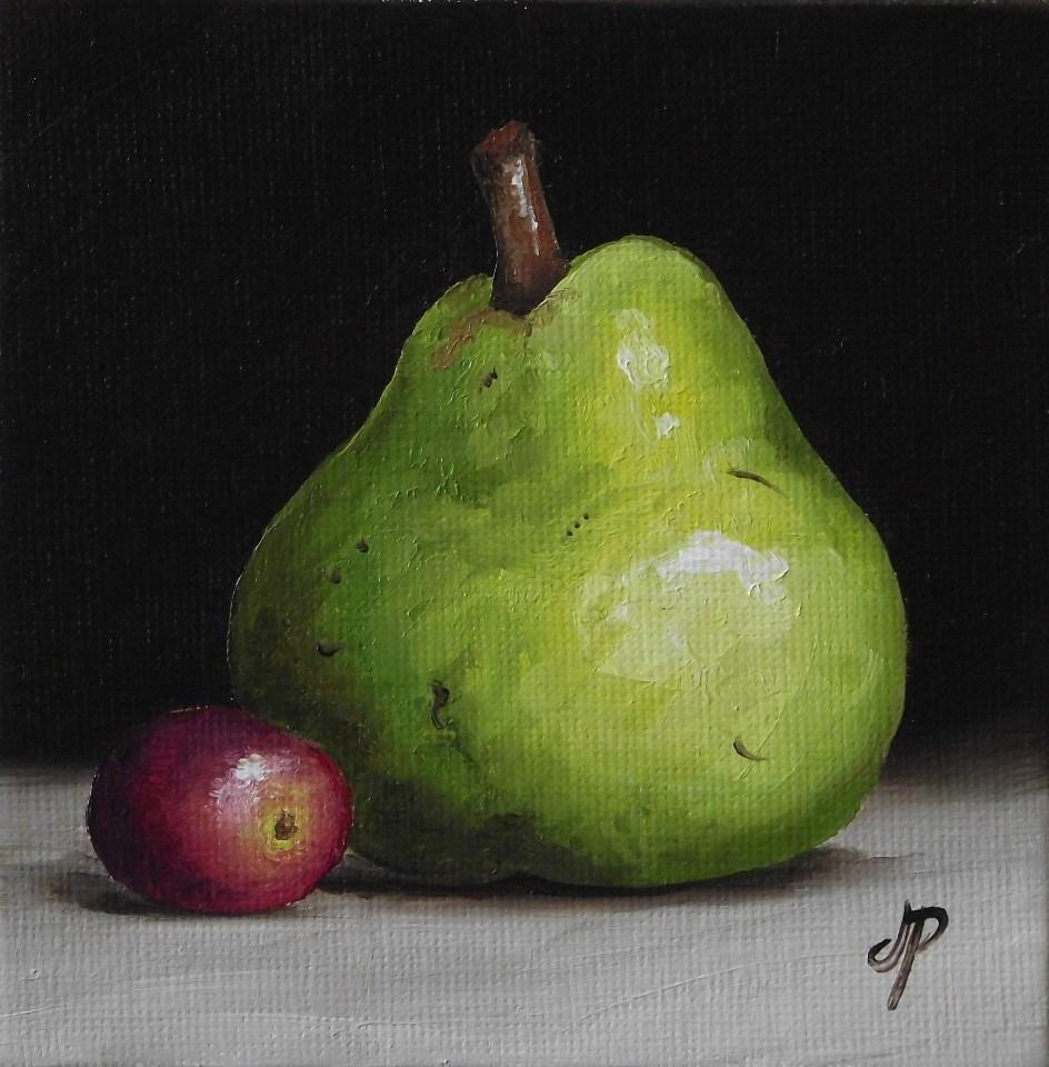 """Little Pear with grape"" original fine art by Jane Palmer"