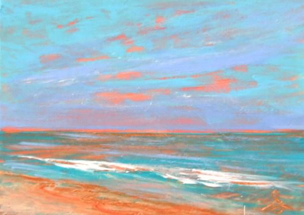 """""""3215 - PEACH BEACH - ACEO Series"""" original fine art by Sea Dean"""