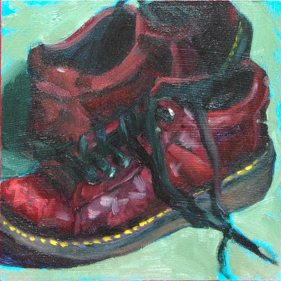 """Red Leather Shoes"" original fine art by Karen Boe"