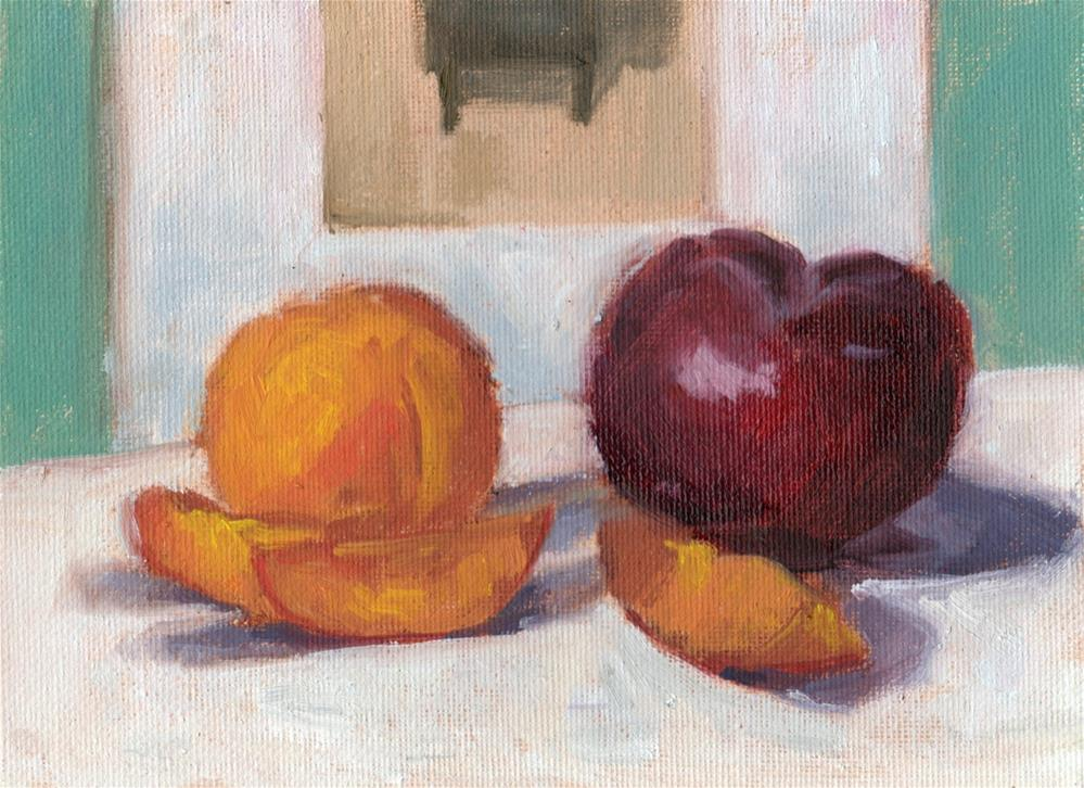 """Apricots and Plum"" original fine art by Marlene Lee"
