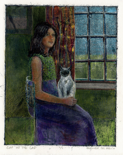 """Silk Aquatint: Cat in the Lap"" original fine art by Belinda Del Pesco"