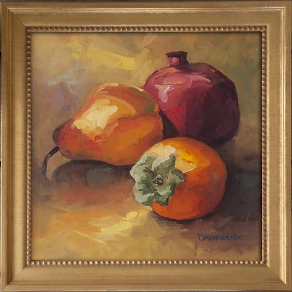 """Pear, Pom and Persimmon Still llife painting"" original fine art by Deb Kirkeeide"