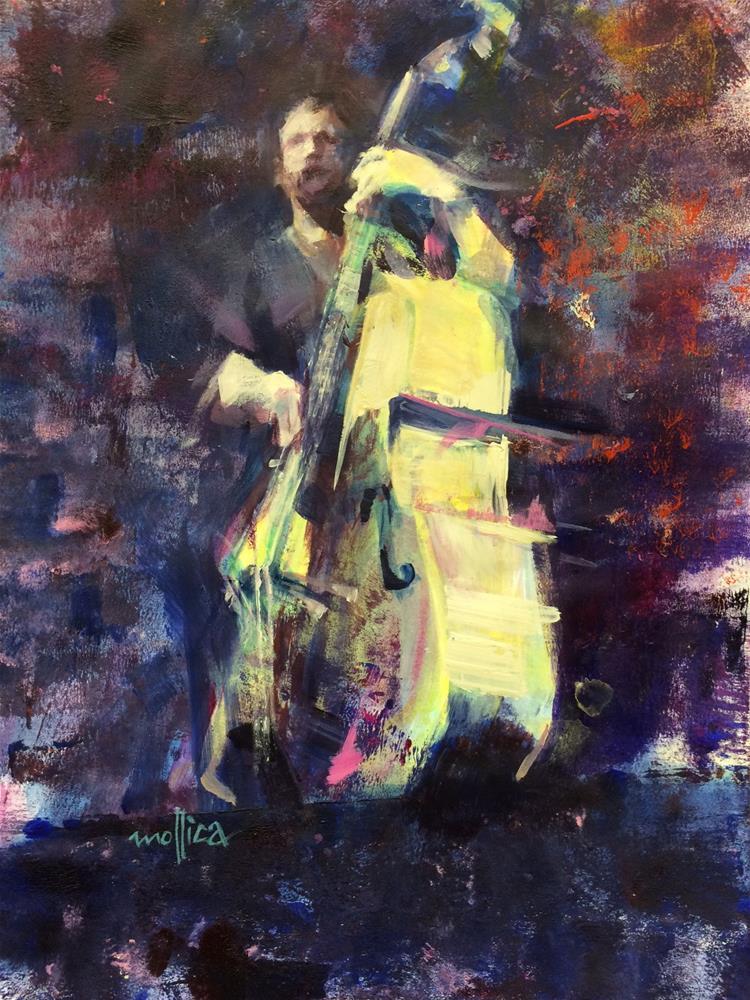 """Bass Player"" original fine art by Patti Mollica"