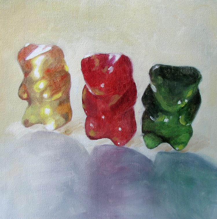"""""""Gummy Trio"""" original fine art by Lauren Pretorius"""