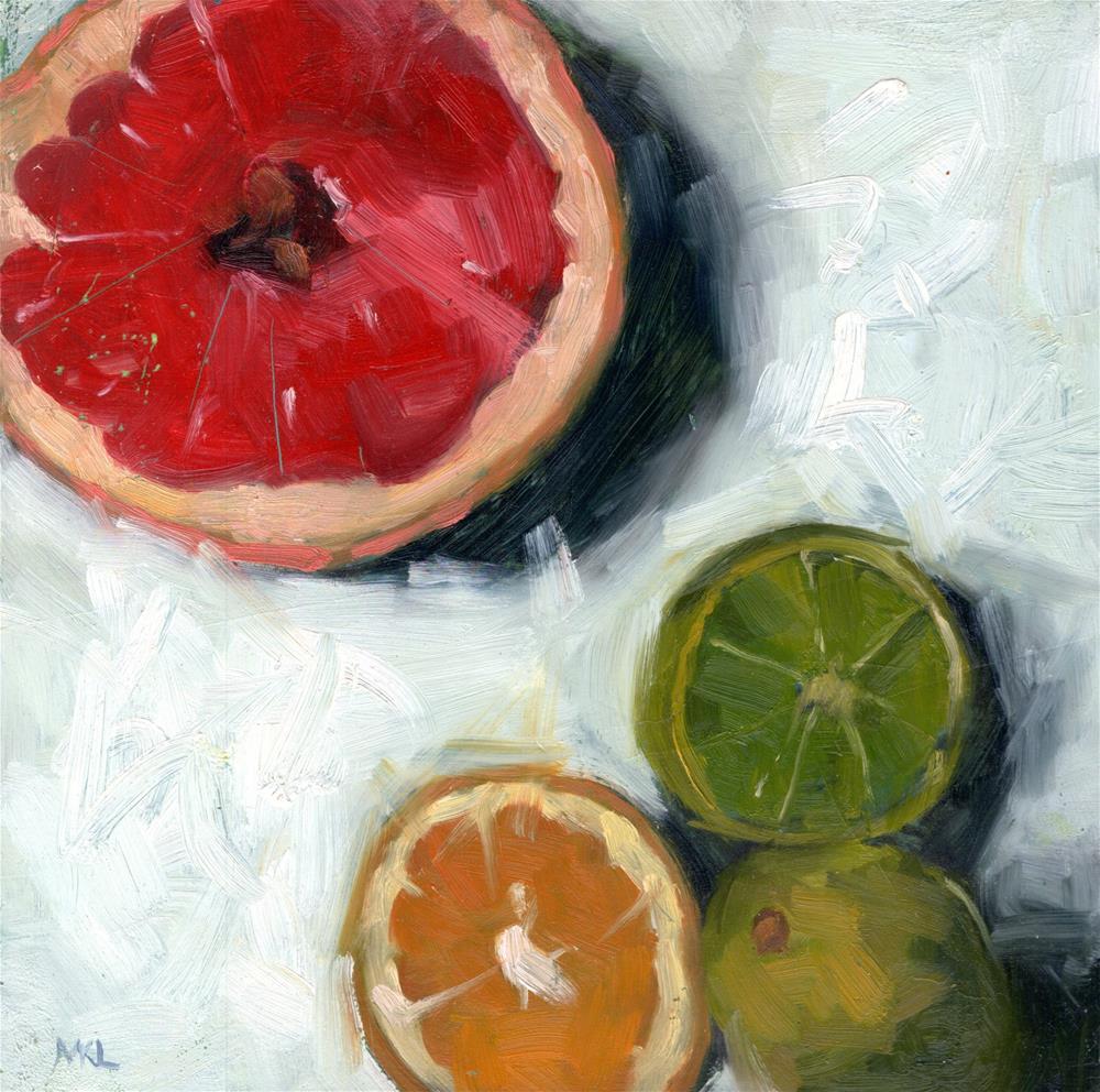 """""""Grapefruit, Lime and Lemon Halves"""" original fine art by Marlene Lee"""