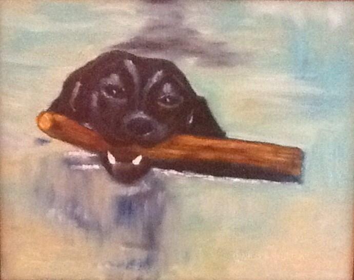 """FETCH HERE"" original fine art by Charlotte Bankhead Hedrick"
