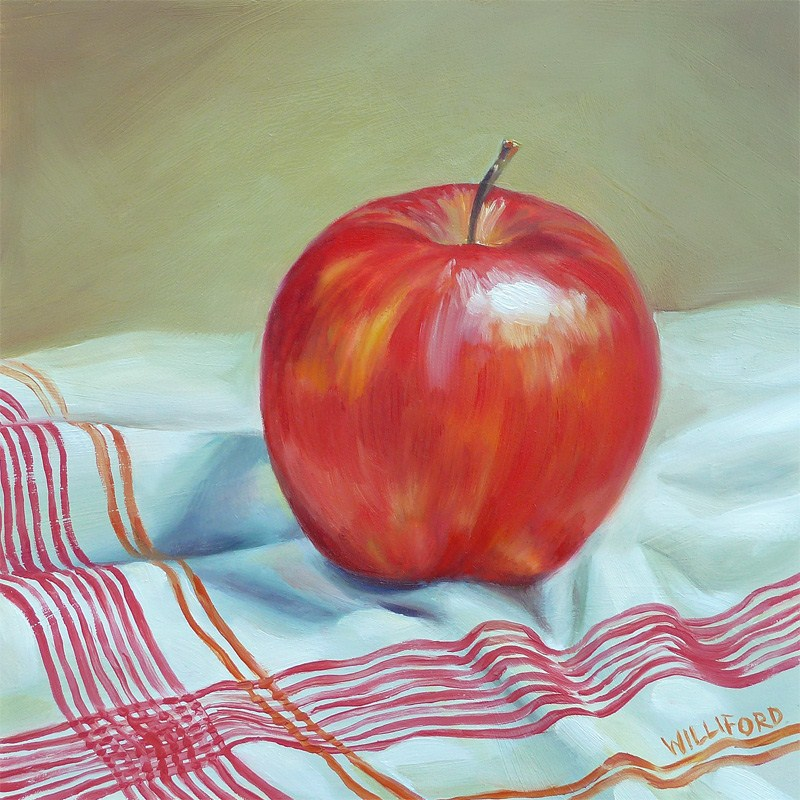 """""""Apple with Red Stripes"""" original fine art by Kathleen Williford"""