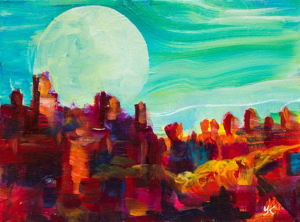 """Rocky Alien Planet with Big Moon"" original fine art by Yulia Kazansky"
