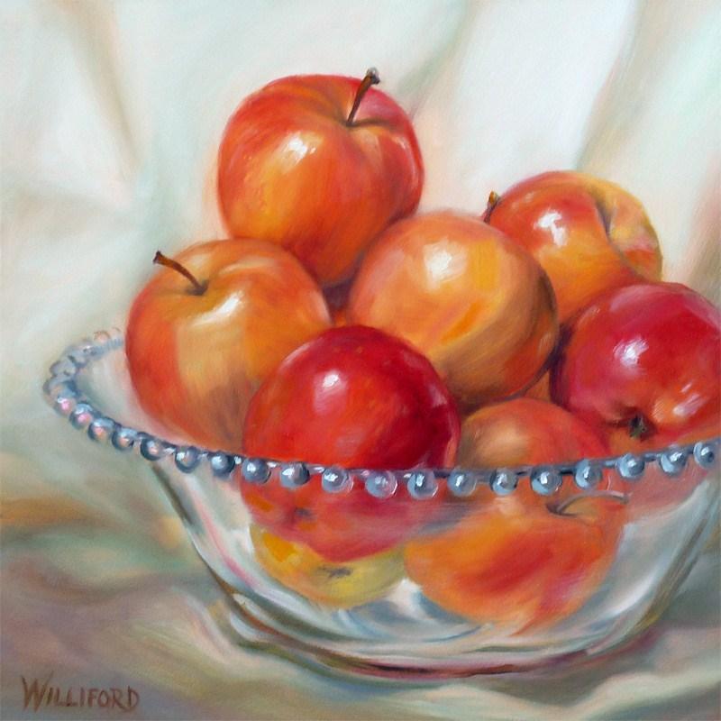 """""""Apples in Glass Bowl"""" original fine art by Kathleen Williford"""