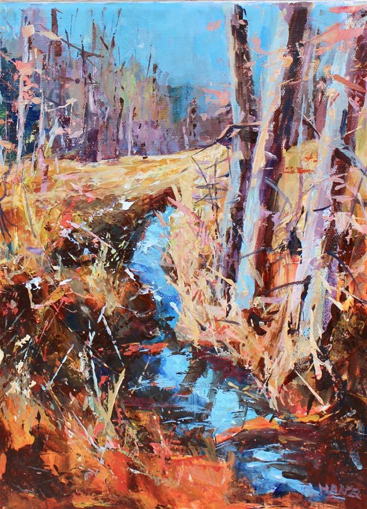 """Midwest Indiana landscape acrylic stream "" original fine art by Alice Harpel"